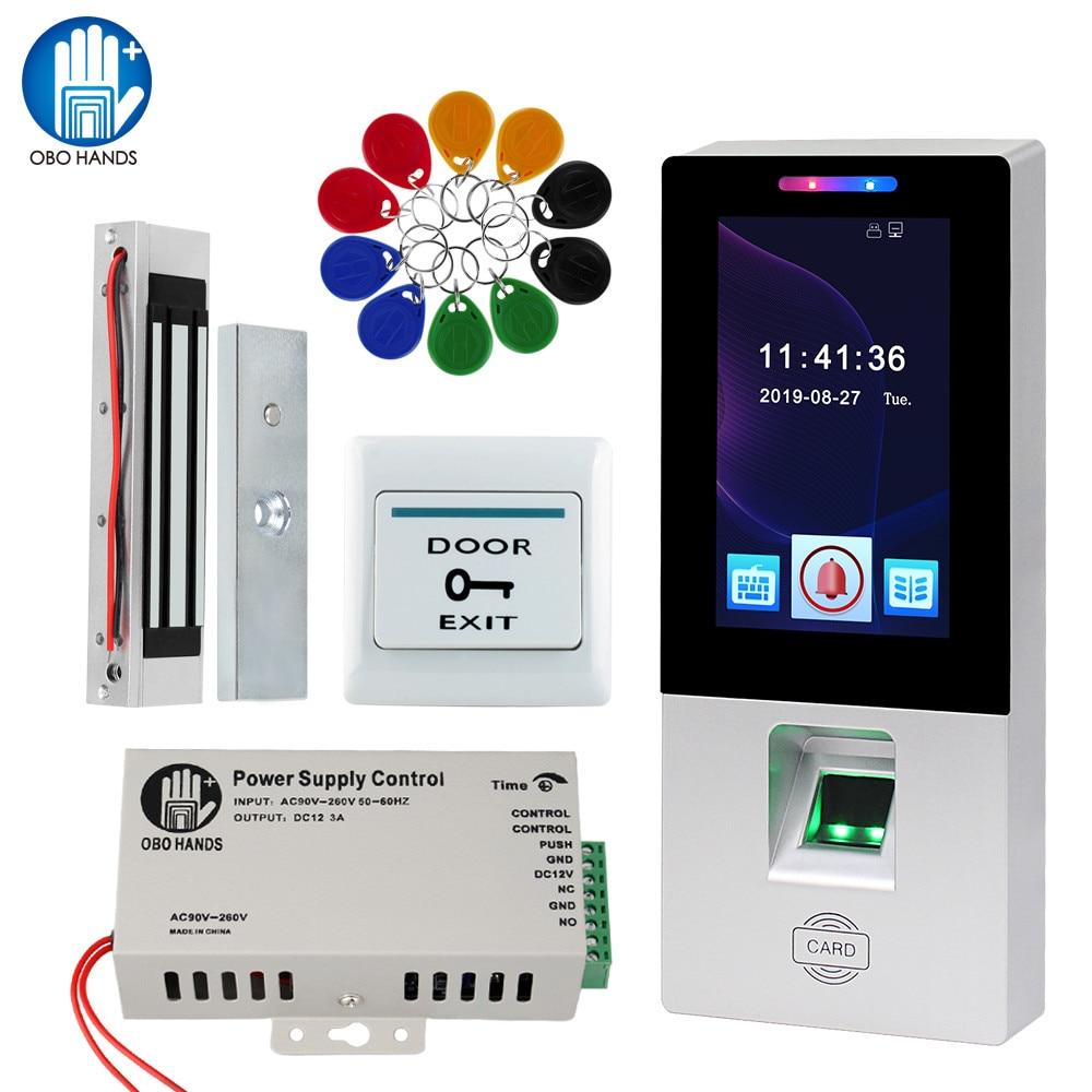 OBO RFID Access Control System Kit Fingerprint Biometric Touch Electric Magnetic Lock Bolt Strike Door Locks USB Time Attendance
