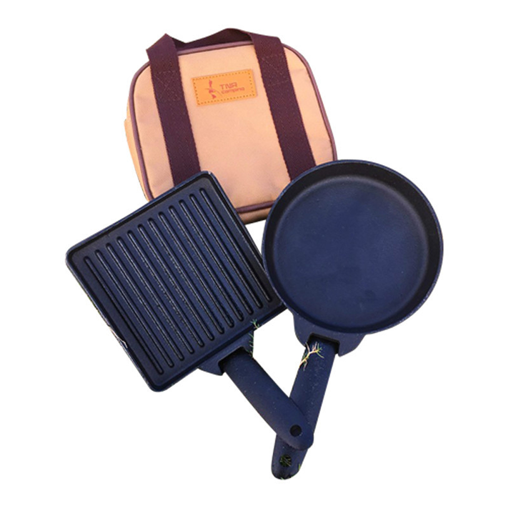 2PCS Hiking Portable Frying Pans Set Picnic Iron Tool Detachable Outdoor With Pouch Non Stick Pot Steak Camping Cookware BBQ