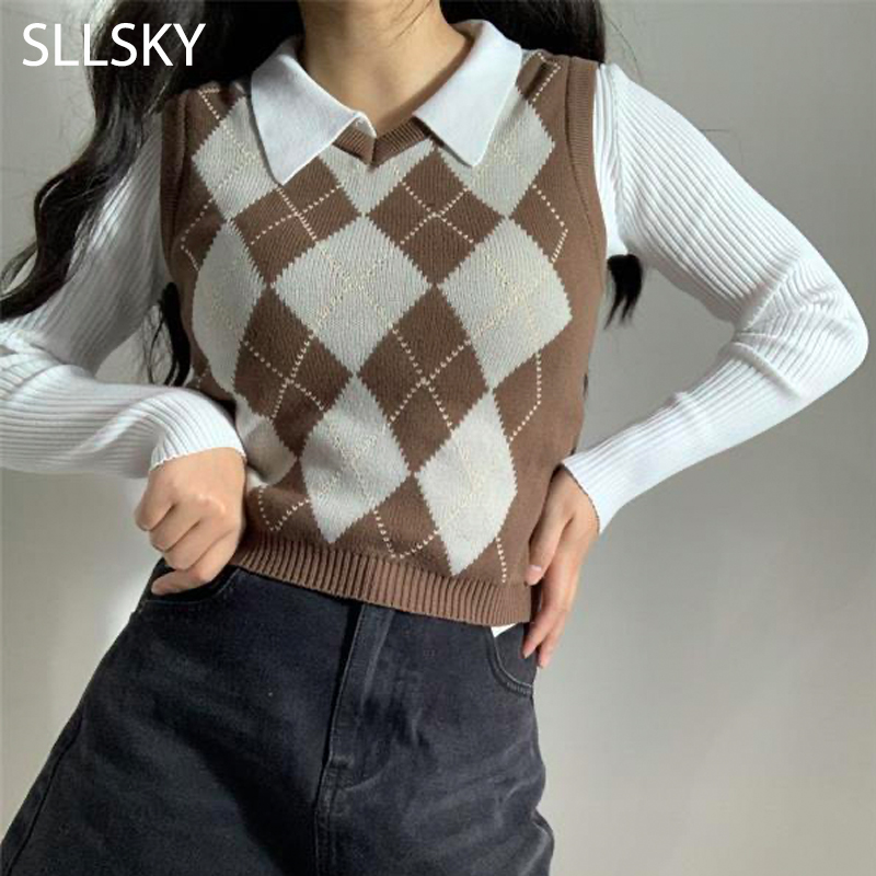 SLLSKY Argyle Plaid Sweater Vest Women 2021 New V-Neck Slim Short Sleeveless Casual Preppy Pullovers Knitted Female Tank Tops