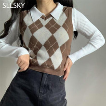 SLLSKY Argyle Plaid Sweater Vest Women 2021 New V-Neck Slim Short Sleeveless Casual Preppy Pullovers Knitted Female Tank Tops