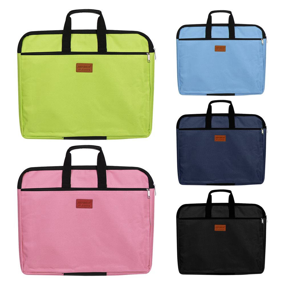 A4 Document Bag Big Capacity Double Layers Book File Folder Holder With Handle Zipper Waterproof Canvas Handbag For Business