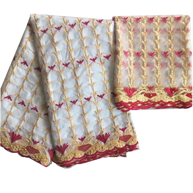 Blesing white African bazin getzner Beautiful riche fabric beaded with rhinestones