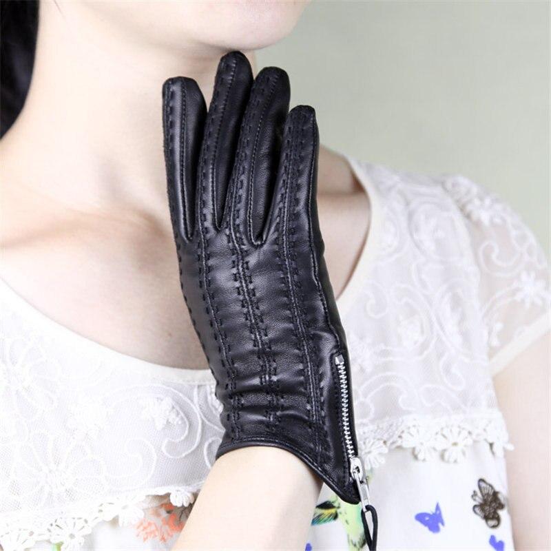 Women's Sheepskin Gloves Genuine Leather Tassel Zipper Winter Warm Plus Velvet Driving Gloves Female Factory Direct Sale DQ1603
