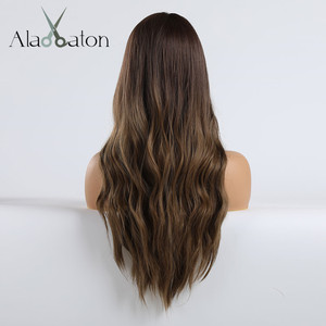 Image 4 - ALAN EATON Ombre Dark Brown Blonde Long Wavy Hairstyle Wigs for Women Natural Wave Synthetic Hair High Temperature Fiber Cosplay