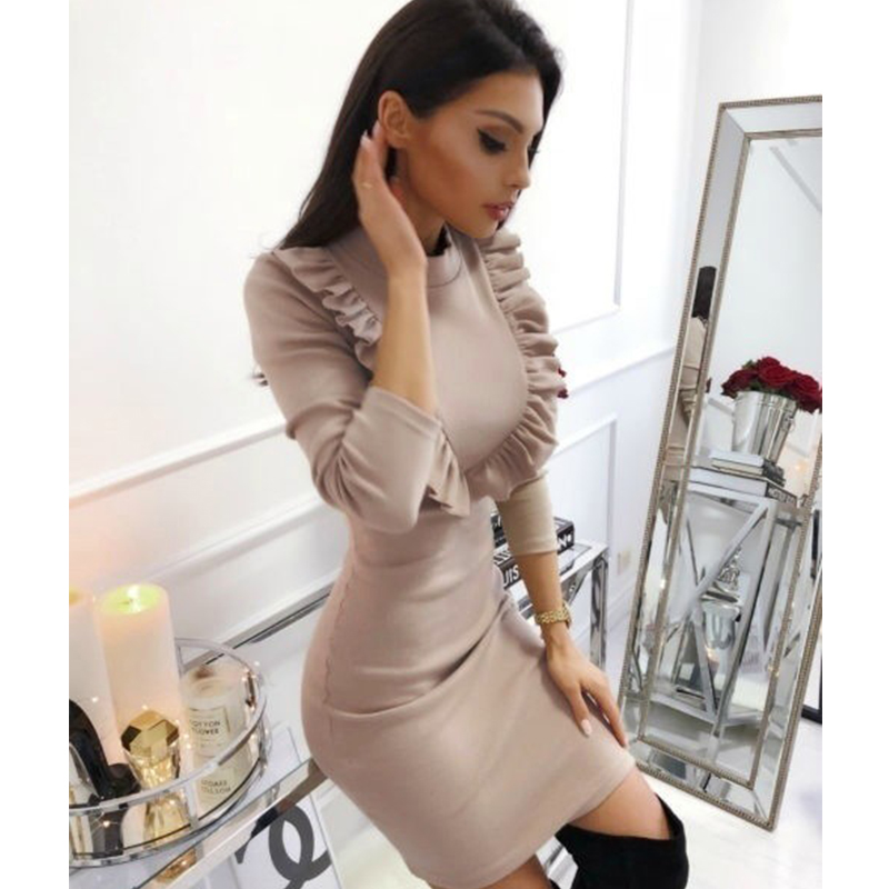 Women Ruffles Sheath Sexy Dress Ladies Long Sleeve Autumn Winter Elegant Dress 2019 Fashion Casual Solid Mini Slim Party Dress