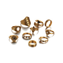 10pcs/Set Vintage Knuckle Ring Set for Women Fashion Femme Stone Silver Gold Midi Finger Rings Boho Wedding Jewelry цена