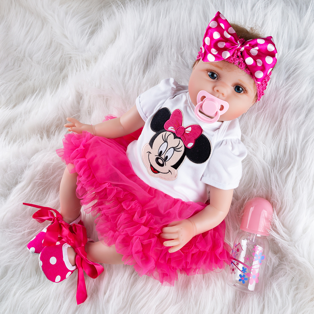 New Pattern Girl Toys 55cm Soft Silicone Reborn Dolls Surprises Baby Realistic Doll Reborn Vinyl Boneca Reborn Doll For Girls