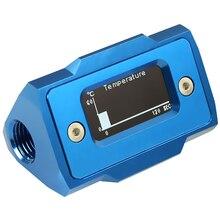 Oled цифровой дисплей измеритель температуры воды система охлаждения воды двойной G1/4 дюйма термометр Температура фитинг-датчик(синий