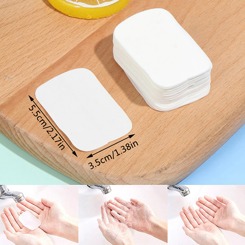 20pcs / 50pcs Travel Hand-washing Soap Paper Multifunctional Aroma Sliced Cleaning Paper Disposable Boxed Mini Soap