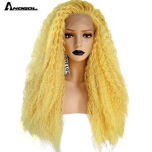 Image 1 - Anogol Partie Libre Rouge/Jaune Longue Crépus Bouclés Perruques pour Les Femmes Blanches Mélangé Blond Brun Synthétique Avant De Lacet Perruques pour Cosplay