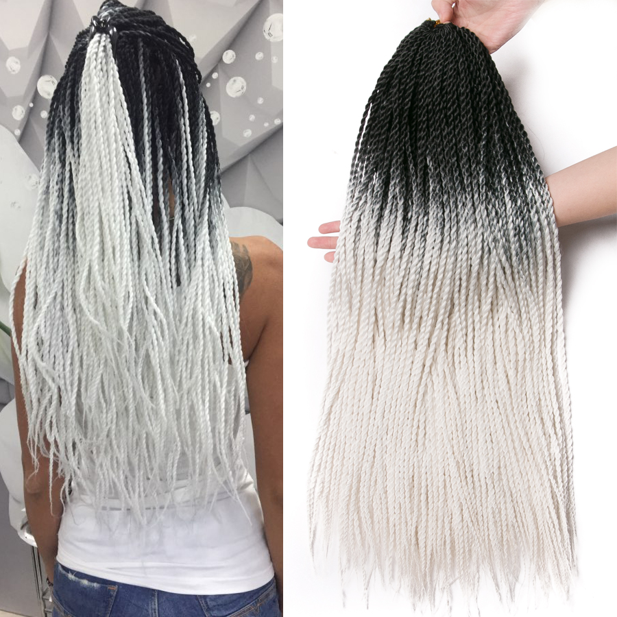 Crochet Hair Braid 24 Inch Senegalese Twist Ombre Synthetic Braiding Hair 30 Strands/pcs Three Tone Blonde