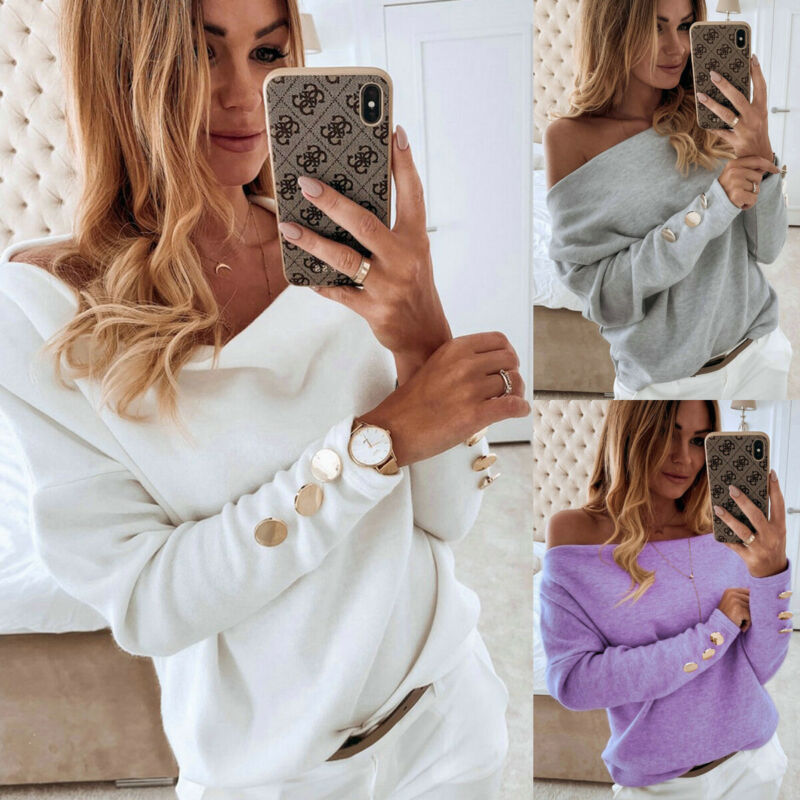 2019 New Autumnn Women Off-Shoulder T-Shirt Ladies Long Sleeve Warm Casual Shirt Daily Sexy LooseTee Tops Solid With Button