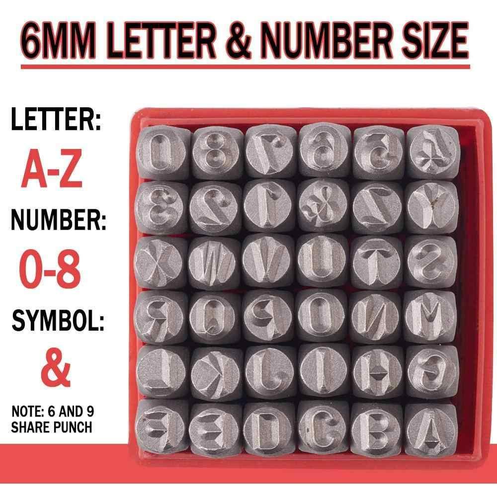 36 قطعة/صندوق الحديد معدن ختم مجموعة الطوابع بما في ذلك رسالة أ ~ Z رقم 0 ~ 8 و Ampersand والأسود معدن الصلب علامة قلادة ختامة