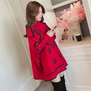Image 5 - Dzianiny bawełniane plus rozmiar wzór przyczynowe luźne ponadgabarytowych jesień zimowy swetr pullover kobiety swetry ubrania 2019
