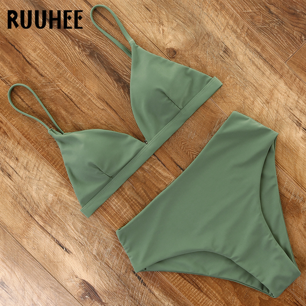 RUUHEE 2020 Bikini Swimwear Swimsuit Women Solid Bathing Suit Green Neno Bikini Set With Pad Female High Waist Beachwear Biquini