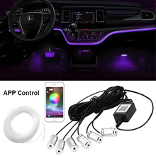 6 в 1 RGB светодиодный Атмосфера салона автомобиля окружающей среды светильник комплект Волоконно-оптический полоски светильник с помощью пр...