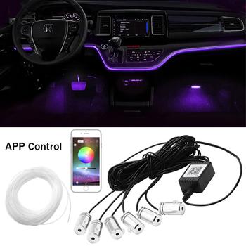 6 w 1 RGB LED atmosfera zestaw wewnętrzne oświetlenie otoczenia samochodu światłowodowe diody na wstążce przez kontrola aplikacji DIY muzyka 6M zespół światłowodowy tanie i dobre opinie NONE CN (pochodzenie) Klimatyczna lampa RGB LED Ambient Light 12 v 70 cm Fiber 0 5kg RGB LED Atmosphere Light Fiber Strip Lights