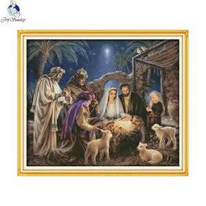 Image 2 - Bebek İsanın doğuşu desenleri, Aida tuval çapraz dikiş kitleri, nakış İğne seti, ev dekorasyon göndermek aksesuar araçları
