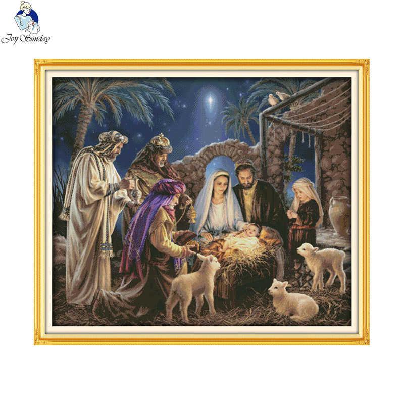 De Geboorte van Baby Jesus Patronen, Aida Canvas Borduurpakketten, Borduren Handwerken Set, woondecoratie Sturen Accessoire Gereedschappen
