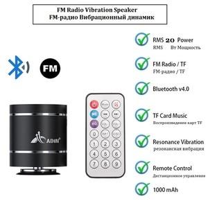 Image 3 - Alto falantes portáteis da vibração de adin bluetooth com rádio de fm remoto mini alto falante de vibração sem fio subwoofer baixo para o telefone