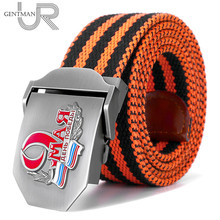 New Men & Women High Quality Belt 3D Russian Victory Day 9th May Canvas Military Belt CCCP Memory Luxury Jeans Tactical Belt