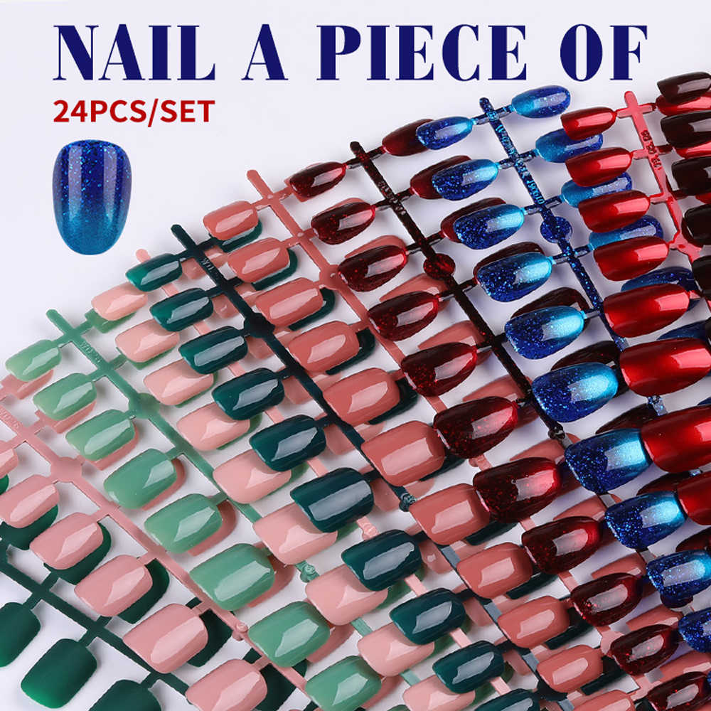 24 Pcs/แผ่น Matte เล็บปลอมสีเคล็ดลับ Patch ประดิษฐ์ชิป French Nail Art Extensions อุปกรณ์เสริมแฟชั่นปลอมเล็บ