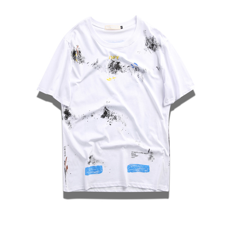 Ow Summer Off New Style Melbourne Series Short Sleeve T-shirt Ink Star Fireworks Men And Women Unisex Street Fashion Printed