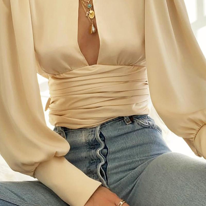 Women Office Lady Open Back Blouse Shirts Long Lantern Sleeve Solid Elegant Casual Shirt 2019 Autumn Fashion Women Tops