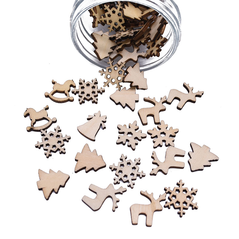 50/100pcs Mini Wooden Decoration Snowflakes Christmas Tree Bell DIY Table Confetti Christmas  Hanging Ornaments