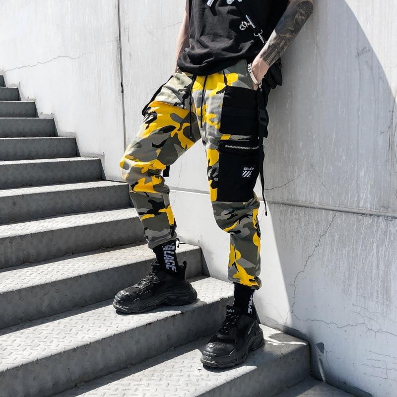 Color Camouflage Cargo Pants 2019 Mens Fashion Baggy Tactical Trouser Hip Hop Casual Cotton Multi Pockets Pants Streetwear
