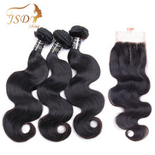 JSDShine Body Wave Human Hair Bundles With Closure Brazilian Hair Weave Bundles With Lace Closure Natural Color Non Remy Hair(China)