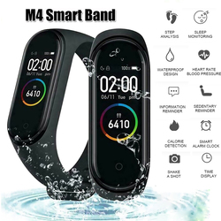 M4 カラー画面スマートリストバンド心拍数モニターフィットネス活動トラッカースマートバンド血圧音楽リモコン