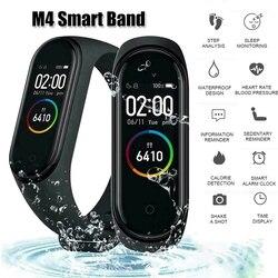 M4 renkli ekran akıllı bileklik nabız monitörü fitnes aktivite takip cihazı akıllı bant kan basıncı müzik uzaktan kumanda