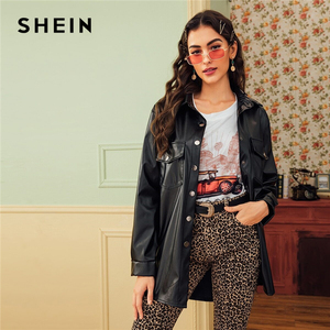 Image 3 - Shein 블랙 듀얼 포켓 버튼 프론트 벨트 캐주얼 pu 코트 여성 2019 가을 streetwear 가짜 가죽 긴 소매 outwear 코트