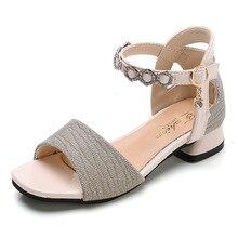 Summer Shoes Sandals Rhinestones High-Heel Little-Girl Princess Fashion Children New