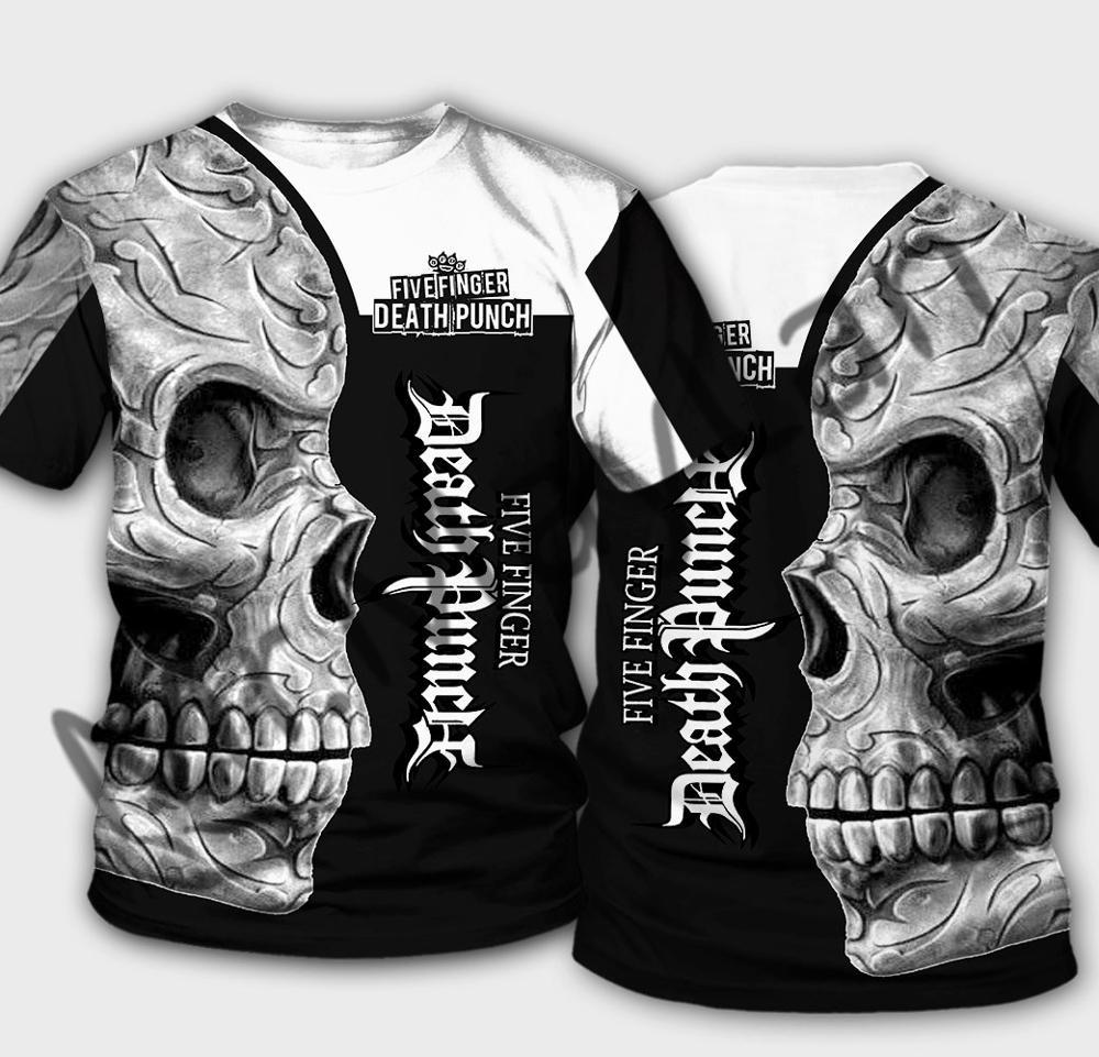 Summer Fashion Five Finger Death Punch Skull Men/Women O-neck T-shirts 3D Print Hip Hop Streetwear Short Sleeves Harajuku Tops