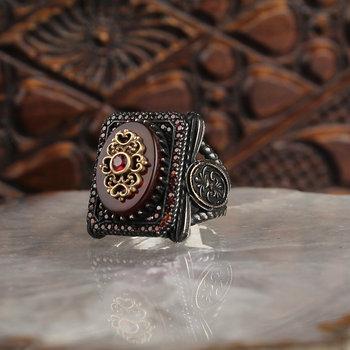 Kamień agat 925 Sterling Silver mężczyźni pierścień biżuteria Handmade pierścień w stylu osmańskim naturalny agat srebrny klasowy pierścień prezent dla niego tanie i dobre opinie Soho Silvers 925 sterling TR (pochodzenie) Drobne Zestaw sztabek Brak Pierścionki GEOMETRIC Klasyczny Pierścień pokazowy