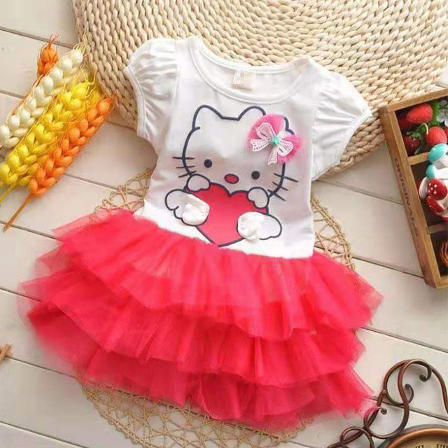Summer Spring Autumn Toddler Infant Girl Baby Dress Cotton Mesh Bow Kids Child Princess Party Ball Gown Hello Cat Kitty Dresses