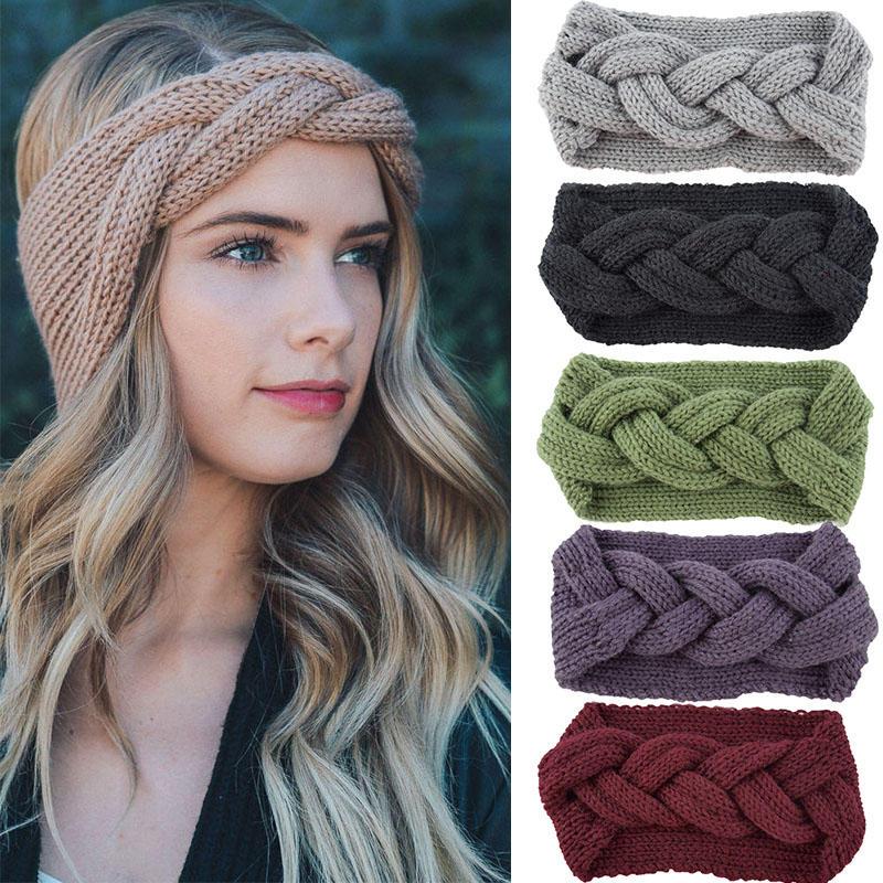 Fashion Handmade Knitted Twist Knot Headbands For Women Korean Wool Winter Warm Turban