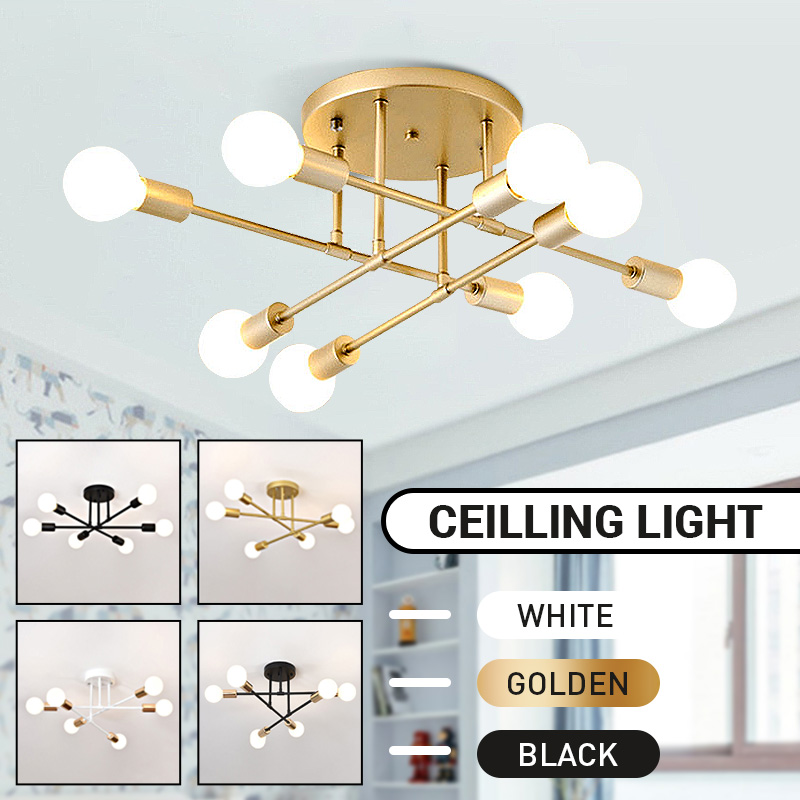 6 8 Head LED Industrial Iron Ceiling Lamp Black Golden European Minimalist  Living Room Lighting 220V E27 Anti-Rust  amp  Durable