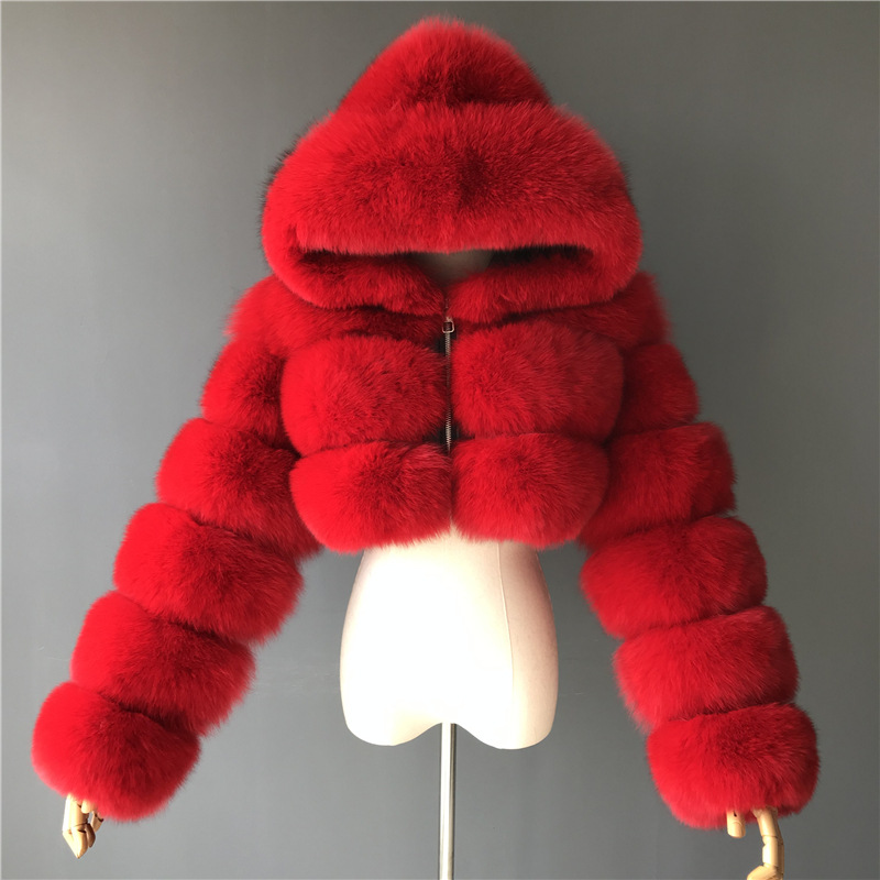 Ha40c4bf66bc14d5e8d7b02db6ccce3fds GAMPORL Fashion Winter High Quality Faux Fox Fur Coat Women Vintage Long Sleeve With Cap Slim Short Jackets Furry Coat Femme