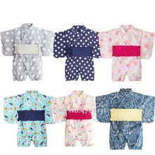 Boy Girl Summer Jumpsuit Children Baby Japanese Style Short Sleeve Yukata Kimono Obi Kids Carnival Party Romper Ao Dai Clothing(China)