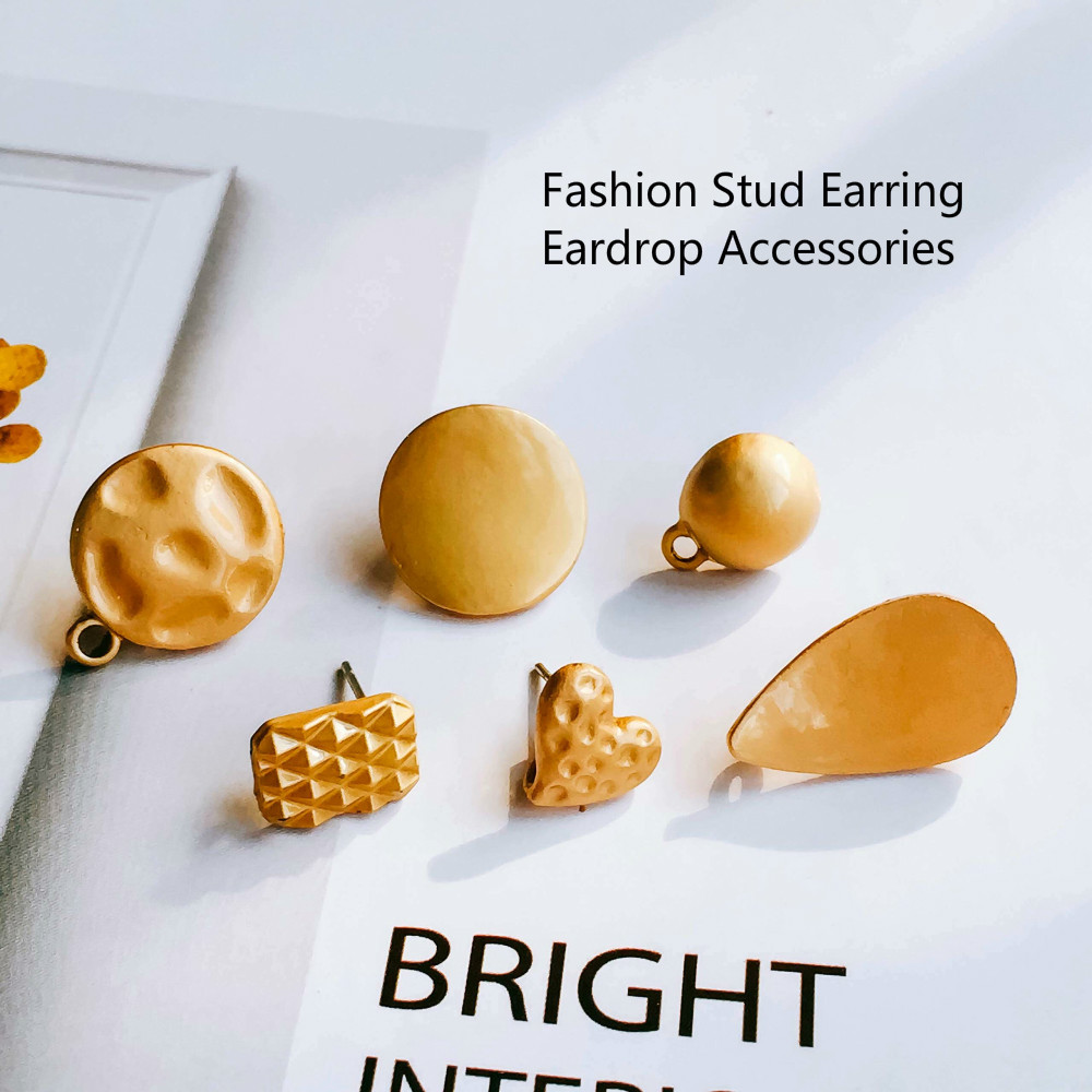 Round Oval Stud Earrings Accessories Eardrop For Women Girl Jewelry Component Diy Handmade Material 8pcs