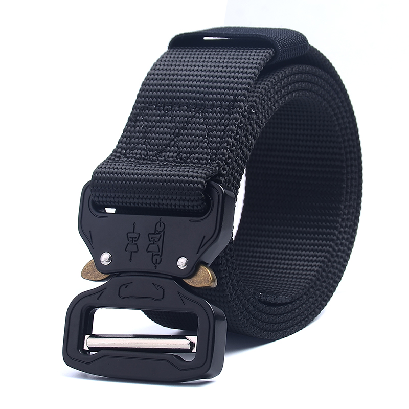 Tactical Belt Men's Multi-function Outdoor Belt Military Training Nylon Belt Metal Multifunctional Buckle Outdoor Sports Hook