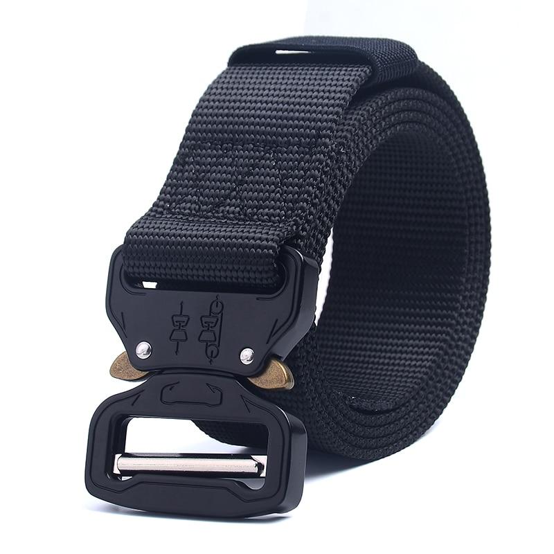 Tactical Belt Men's Multi-function Outdoor Belt Military Training Nylon Belt Metal Multifunctional Buckle Outdoor Sports Hook