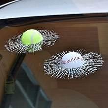 Автомобиль Стайлинг Бейсбол Футбол Теннис стерео разбитое стекло 3D стикер автомобиль мяч в окне хиты самоклеющиеся наклейки на автомобиль ...