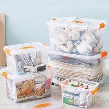 Boîte transparente Portable de stockage des aliments, conteneur de stockage des vêtements de jouets à domicile, boîtes à médicaments, salle de bains, stockage de grande capacité