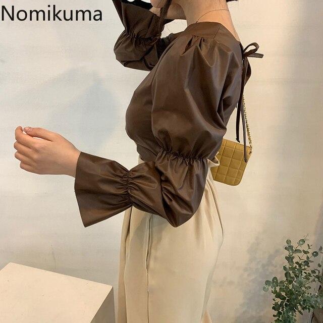 Nomikuma Backless Lace Up Puff Sleeve Shirts Women Solid Color O Neck PU Leather Stylish Blouse Female Korean Chic Blusas Mujer 5