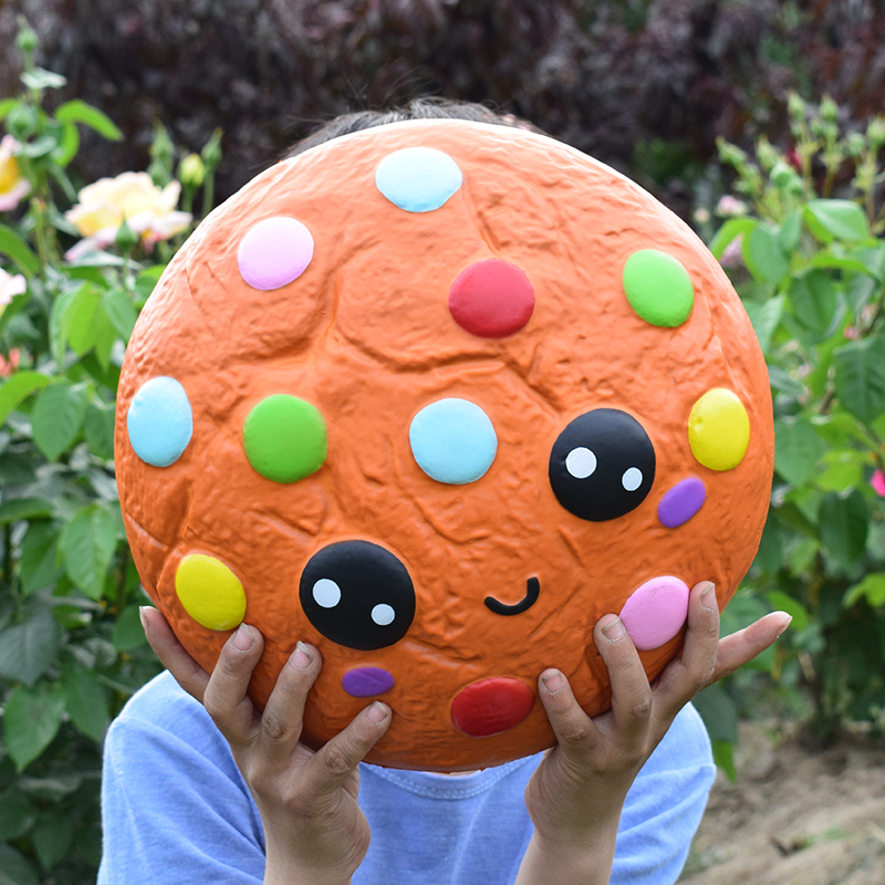 28cm Colorful Jumbo Squishy Chocolate Bean Biscuits Cookie Squishi Toy Stress Relief Scented Squishies Slow Rising Food Toys