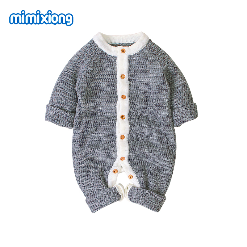 Baby Rompers 100 Cotton Knitted Newborn Bebs Jumpsuits for Boys Girls Long Sleeve Pajamas Clothes Autumn Button Up Kids Outfits in Rompers from Mother Kids